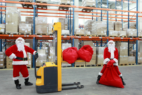 Santa in the warehouse